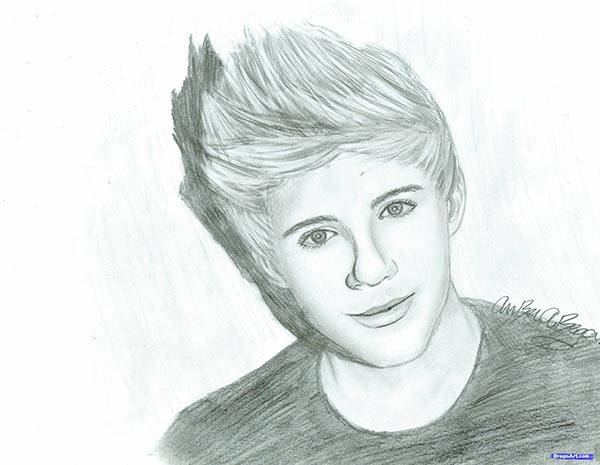 How to draw Nayl Horan's portrait from One Direction pop group with a pencil step by step