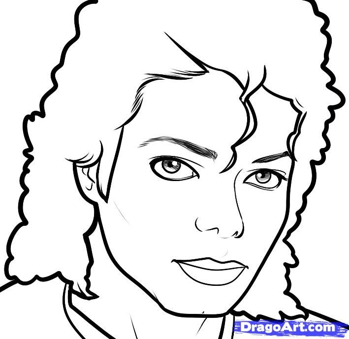 How to draw Michael Jackson's portrait with a pencil step by step