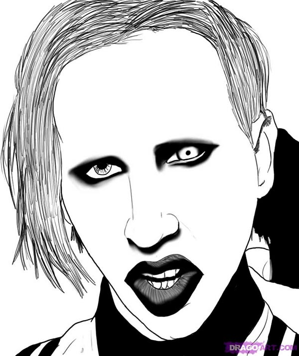 How to draw Merlyn Manson's portrait with a pencil step by step