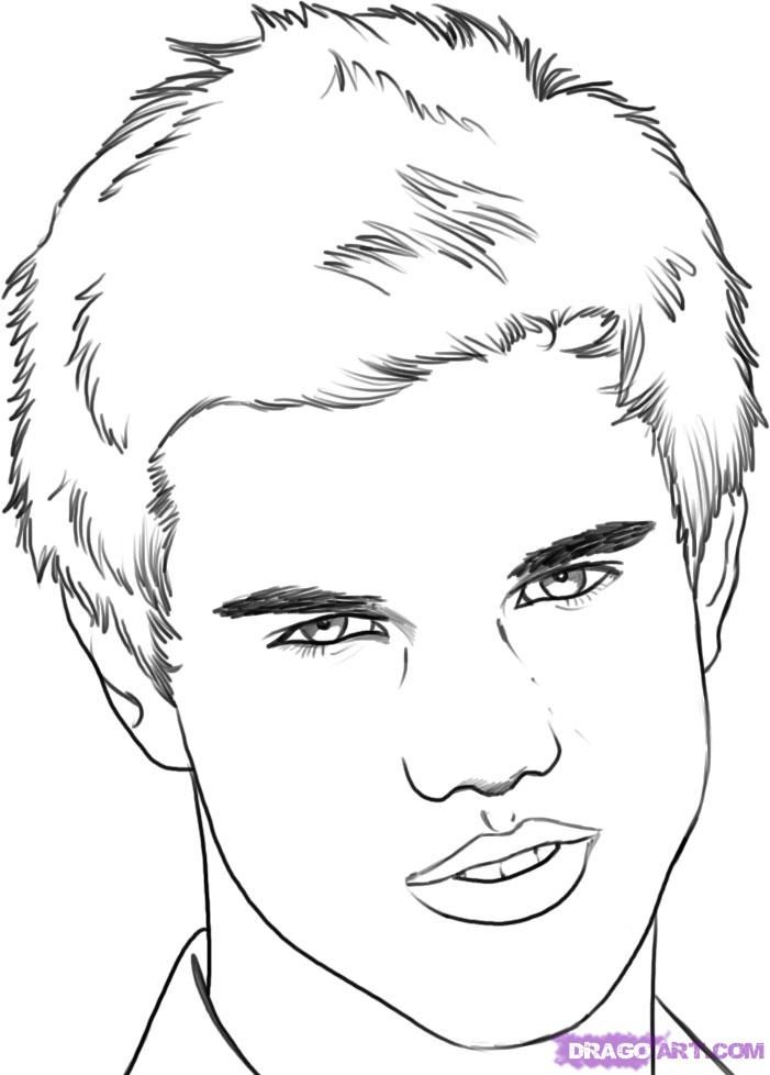 How to draw Taylor Lautner's portrait with a pencil step by step