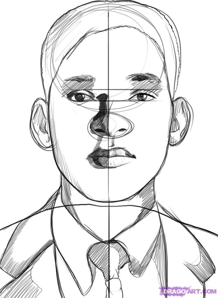 How to draw a portrait Will of Smith with a pencil step by step