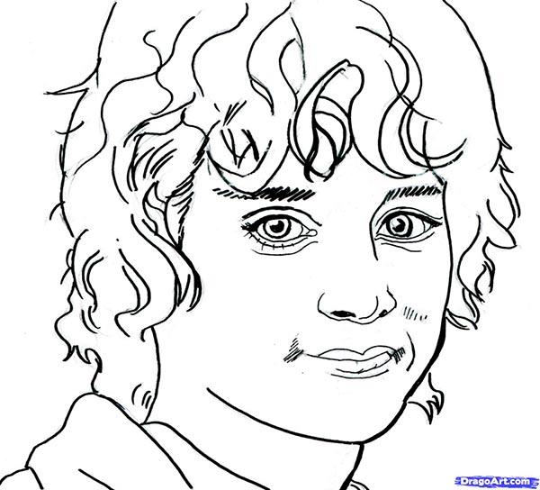 How to draw Frodo's portrait from the Lord of the Rings with a pencil step by step