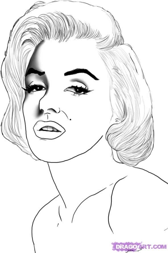 How to draw Marilyn Monroe's portrait with a pencil step by step