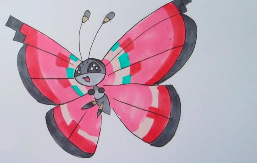 How to draw the Pokemon of Vivillon with a pencil step by step