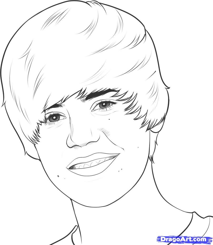 How to draw Justin Bieber's portrait with a pencil step by step