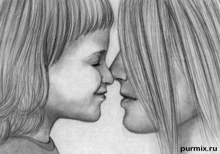 How to draw mother with the daughter a simple pencil