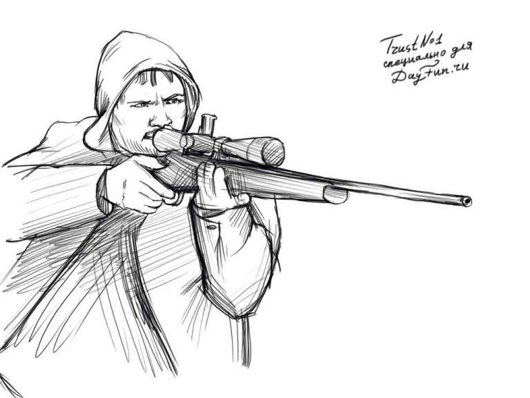 How to draw the sniper with a pencil step by step