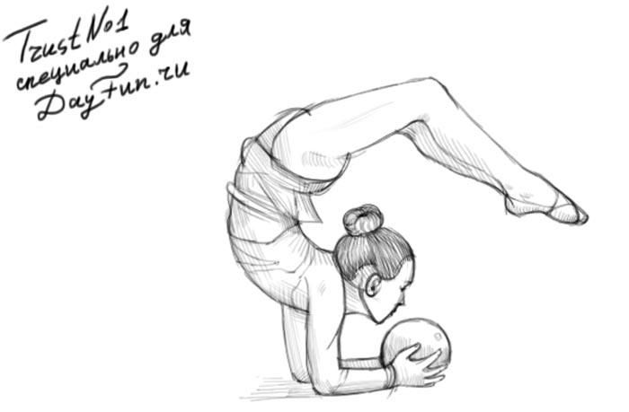 How to draw the gymnast with a sphere on paper step by step
