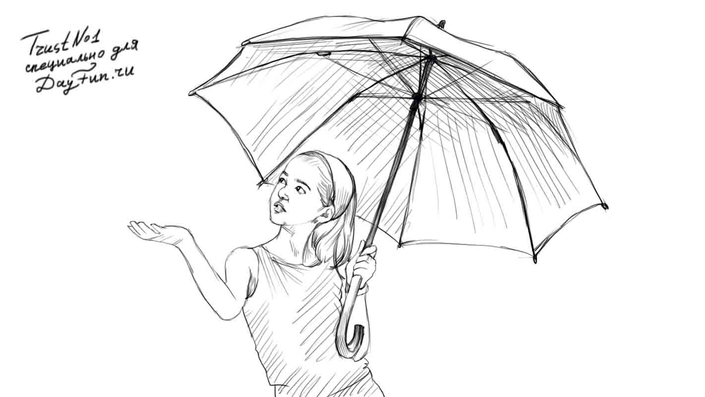 How to draw the girl with an umbrella on paper a pencil