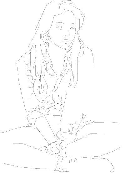 How to draw the girl sitting on a meadow a pencil step by step 2