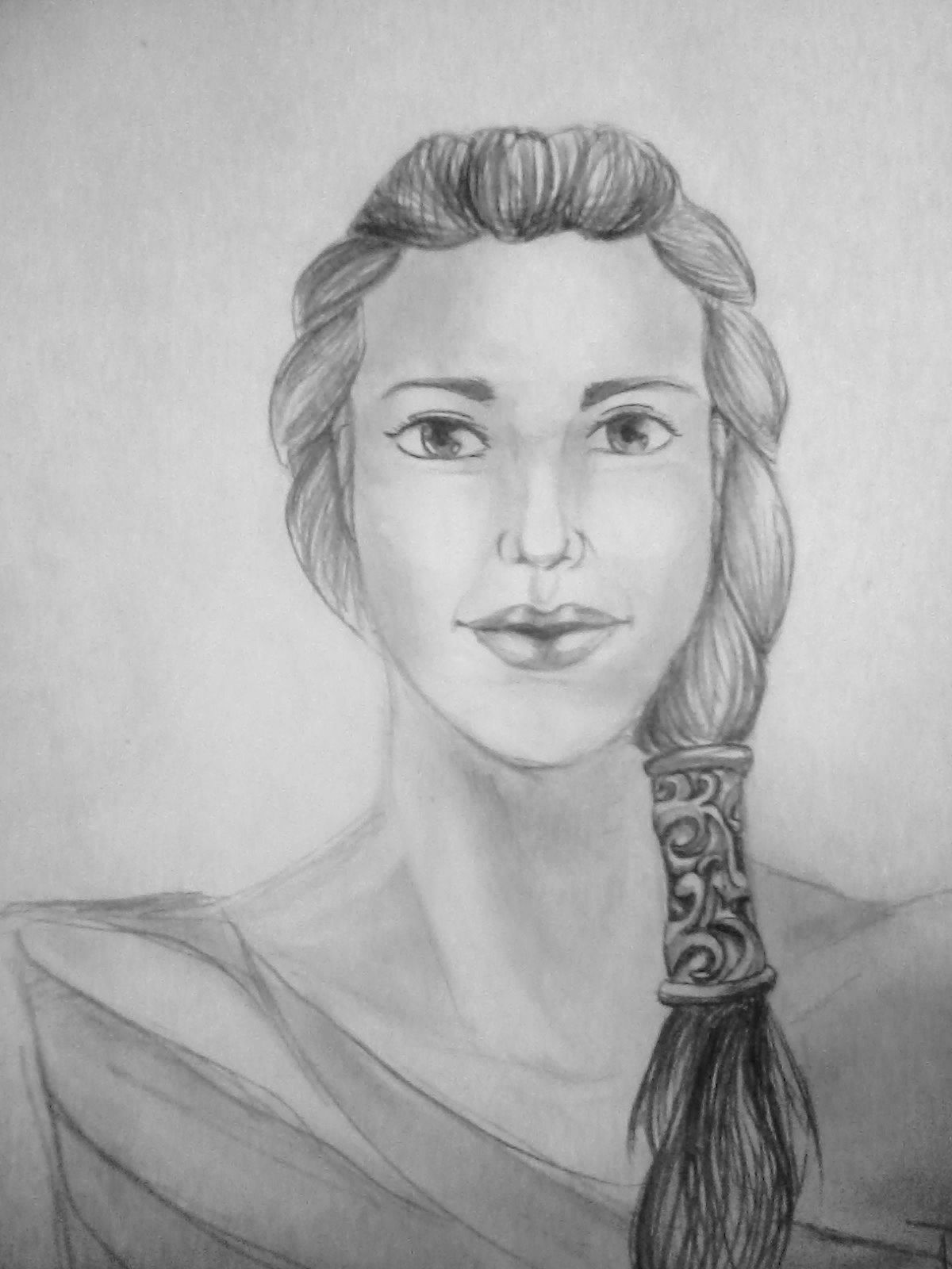 How to draw a face (portrait) of the girl of the amazon with a pencil step by step