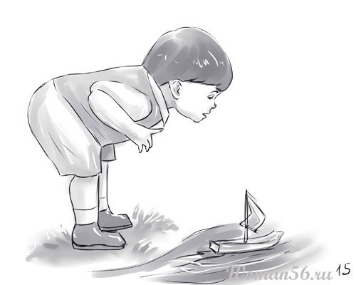 How to draw the Boy playing a ship a pencil step by step