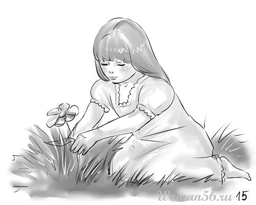 How to draw the girl sitting on a meadow a pencil step by step