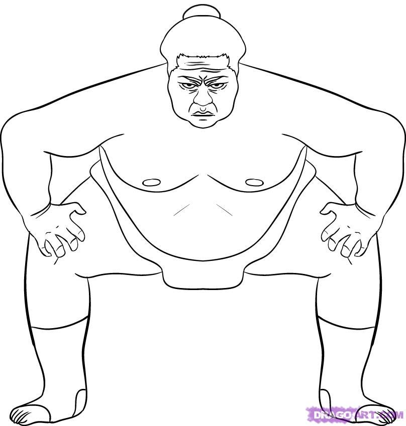 How to draw the fighter of sumo with a pencil step by step