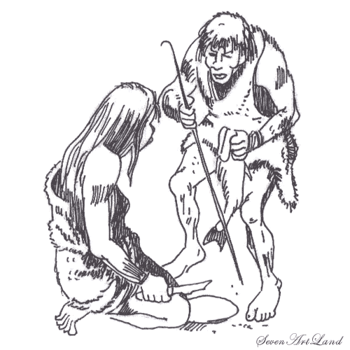 How to draw two Neanderthal men with a pencil step by step