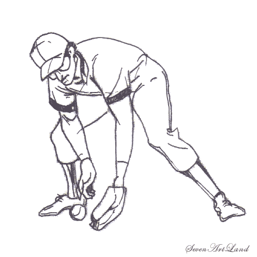 How to draw the Baseball player catching a ball a pencil step by step