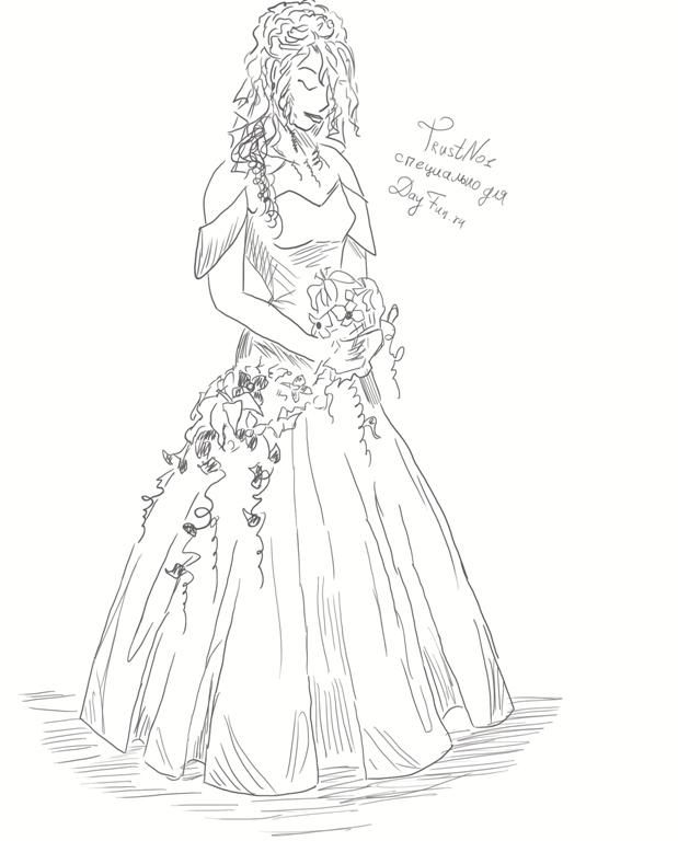 How to draw the bride in a wedding dress with a pencil step by step