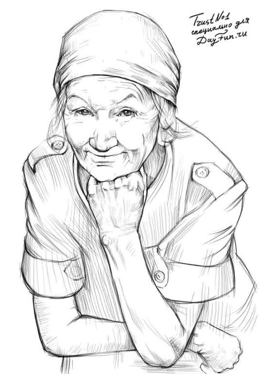 How to draw the grandmother with a pencil step by step
