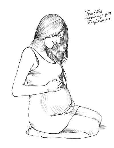 How to draw the pregnant girl with a pencil step by step