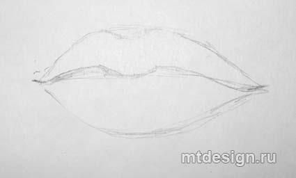 How to draw Lips with a pencil step by step 2
