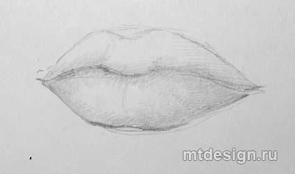 How to draw Lips with a pencil step by step 3
