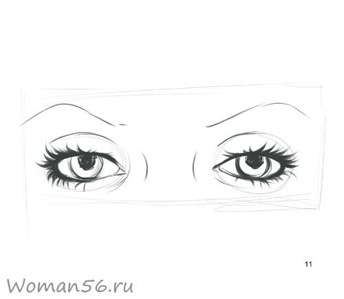 We draw a female eye 11