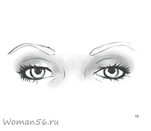 We draw a female eye 13