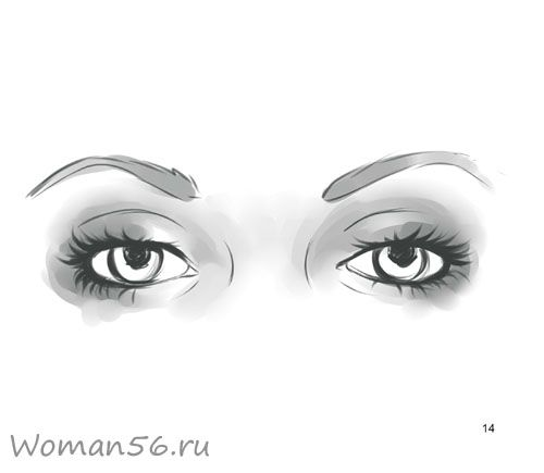 How to draw female eyes with a pencil step by step