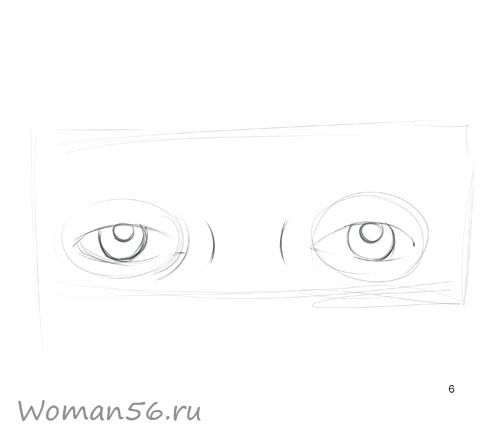 We draw a female eye 6