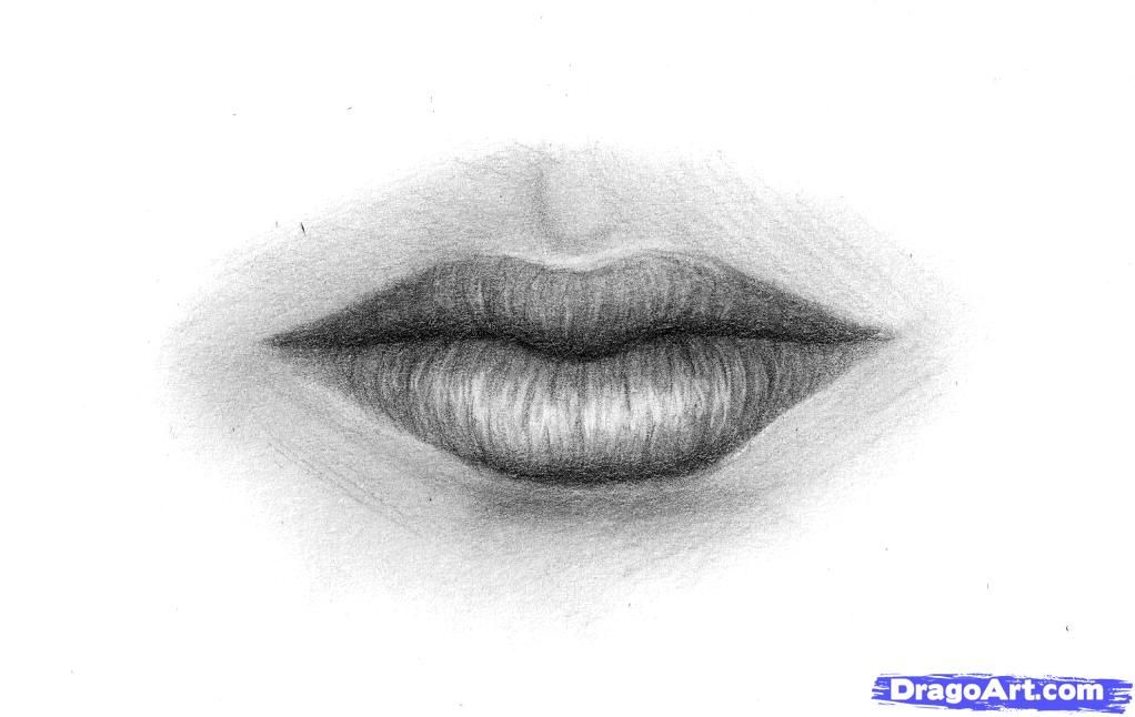 How to draw Lips with a pencil step by step
