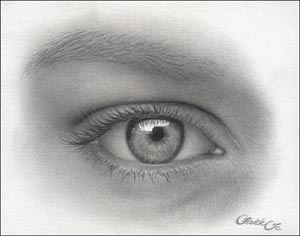 We draw a female eye