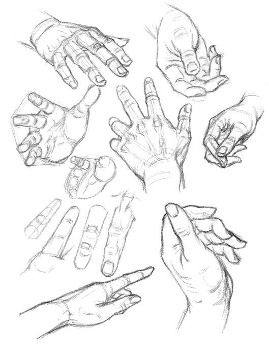 Foreshortenings of drawing of hands