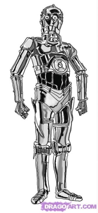 How to draw Xi-Tri-Pi-au (C-3PO) from Star Wars with a pencil step by step