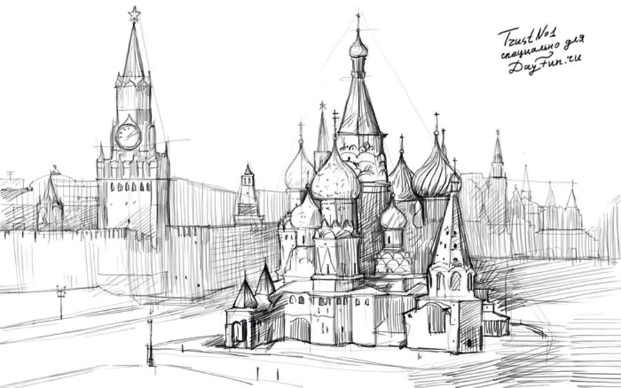 How to draw the Kremlin with a pencil on paper