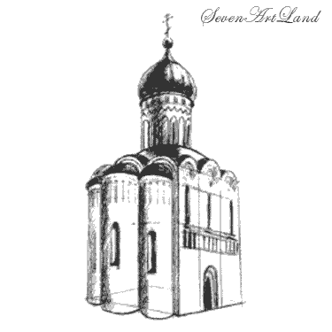 How to draw the Church of the Intercession on the Nerl with a pencil step by step