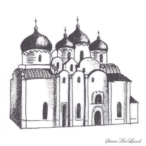 How to draw St. Sophia Cathedral with a pencil step by step