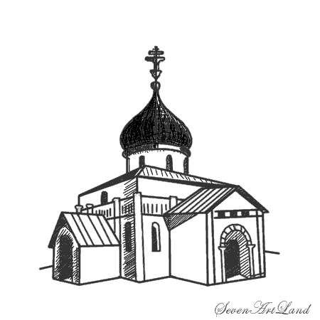 How to draw a cathedral Of St. George with a pencil step by step