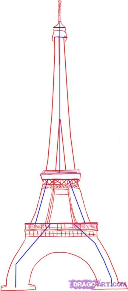 How to draw Paris and the Eiffel Tower on paper with a pencil 3