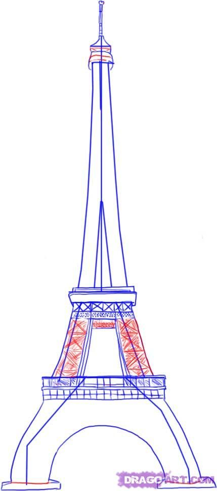 How to draw Paris and the Eiffel Tower on paper with a pencil 4