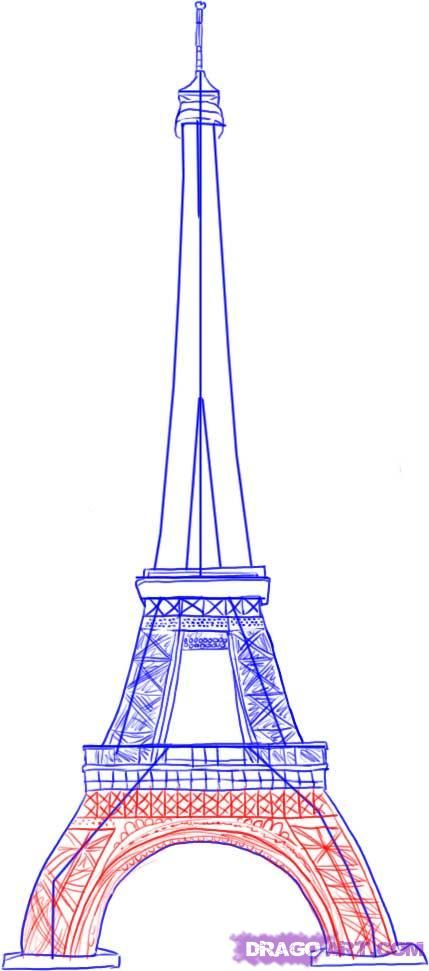How to draw Paris and the Eiffel Tower on paper with a pencil 5