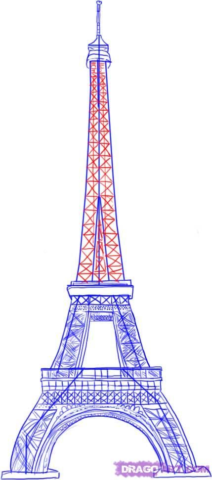 How to draw Paris and the Eiffel Tower on paper with a pencil 6
