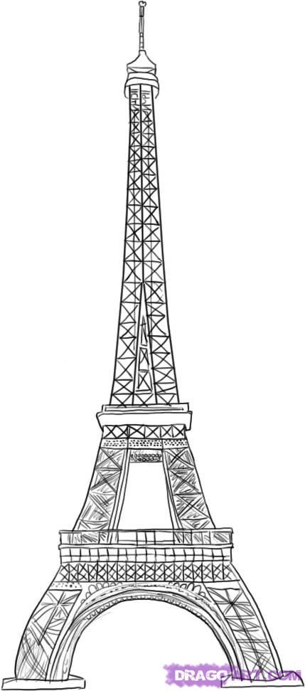 How to draw Paris and the Eiffel Tower on paper with a pencil 7