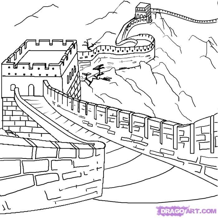 How to draw the Great Wall with a pencil step by step