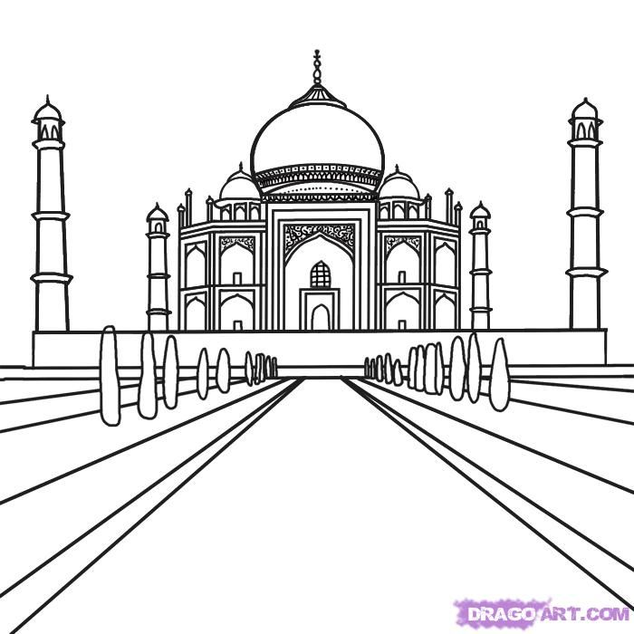 How to draw Taj Mahal on paper with a pencil step by step