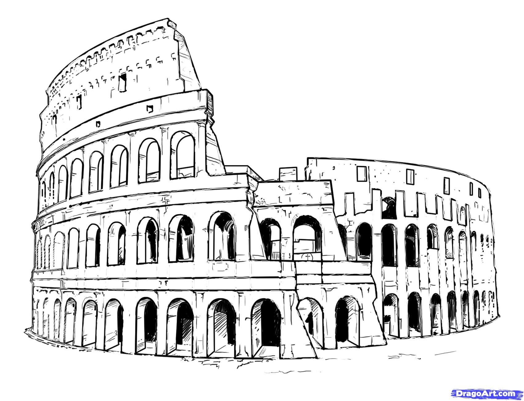 How to draw the Colosseum on paper with a pencil step by step