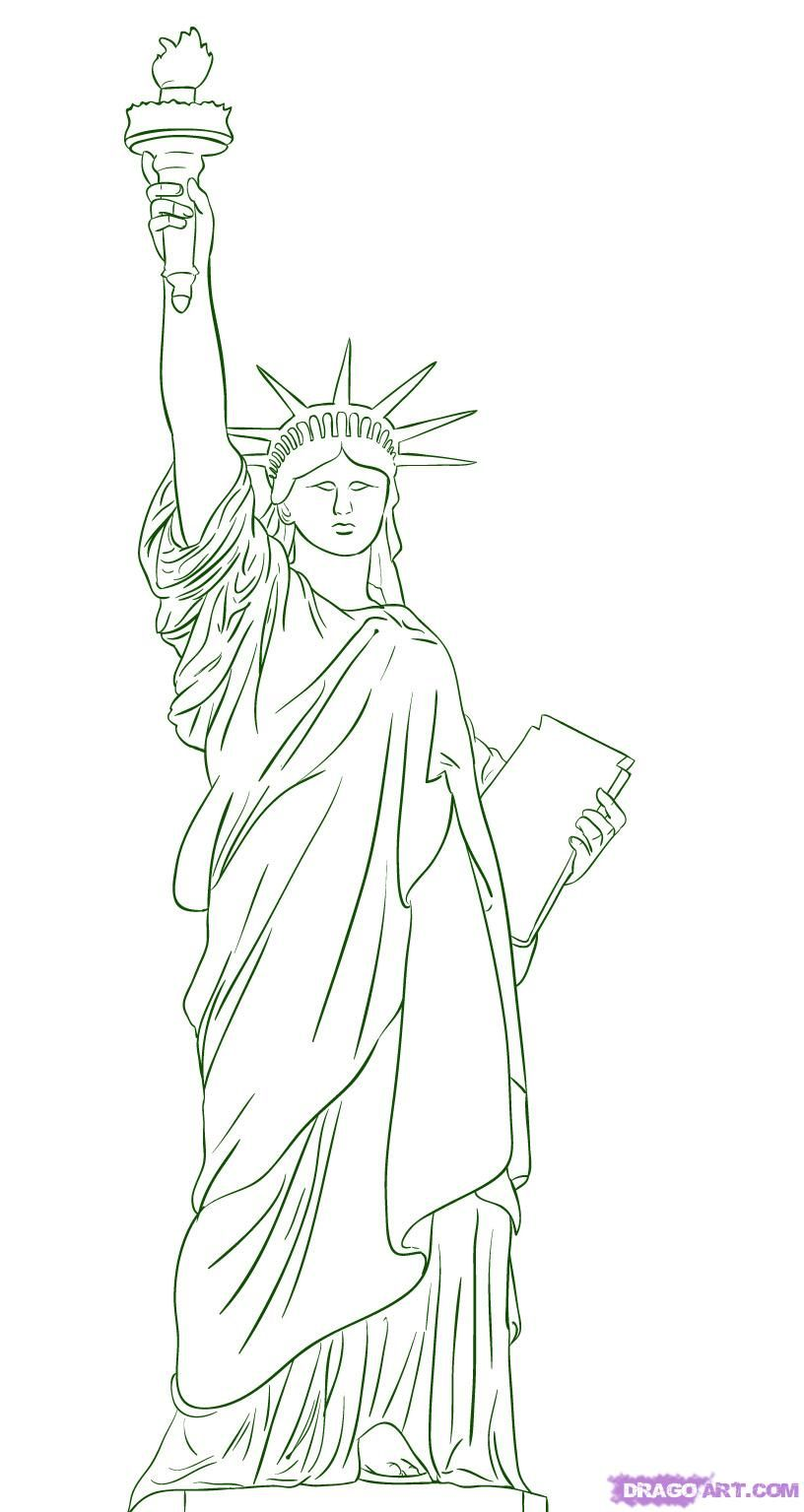 How to draw the Statue of Liberty on paper with a pencil step by step