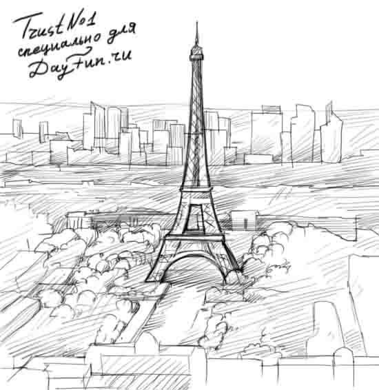 How to draw Paris and the Eiffel Tower on paper with a pencil