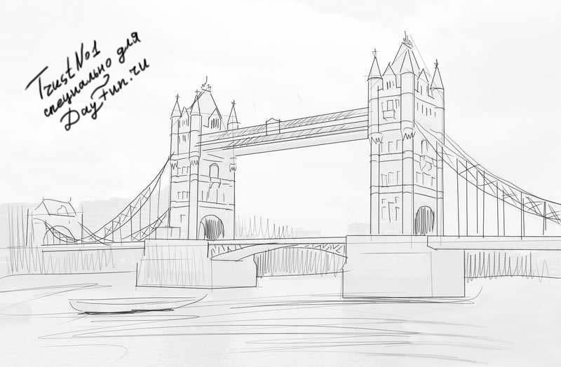 Come tirare Tower Bridge su carta con una matita poco a poco