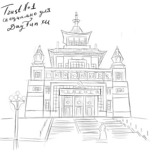 How to draw Buddha's temple on paper with a pencil