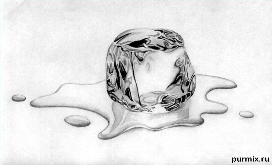 How to draw an ice cube with a simple pencil step by step